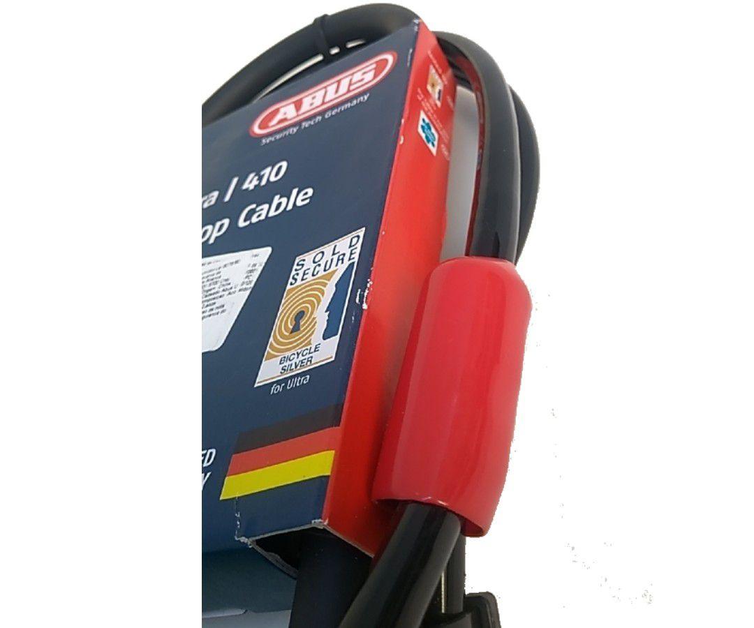 CADEADO TRAVA U-LOCK ABUS ULTRA 410 ´8 - 230X105MM + LOOP CABLE 120CM PRETO BIKE
