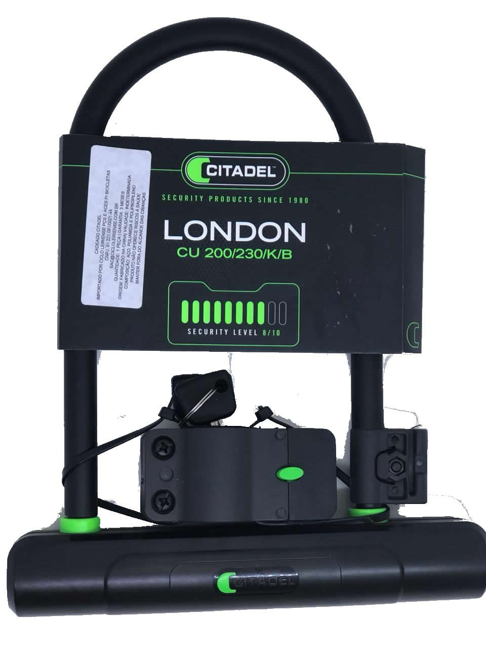 CADEADO TRAVA U-LOCK CITADEL LONDON CU 200/230/K/B CHAVE
