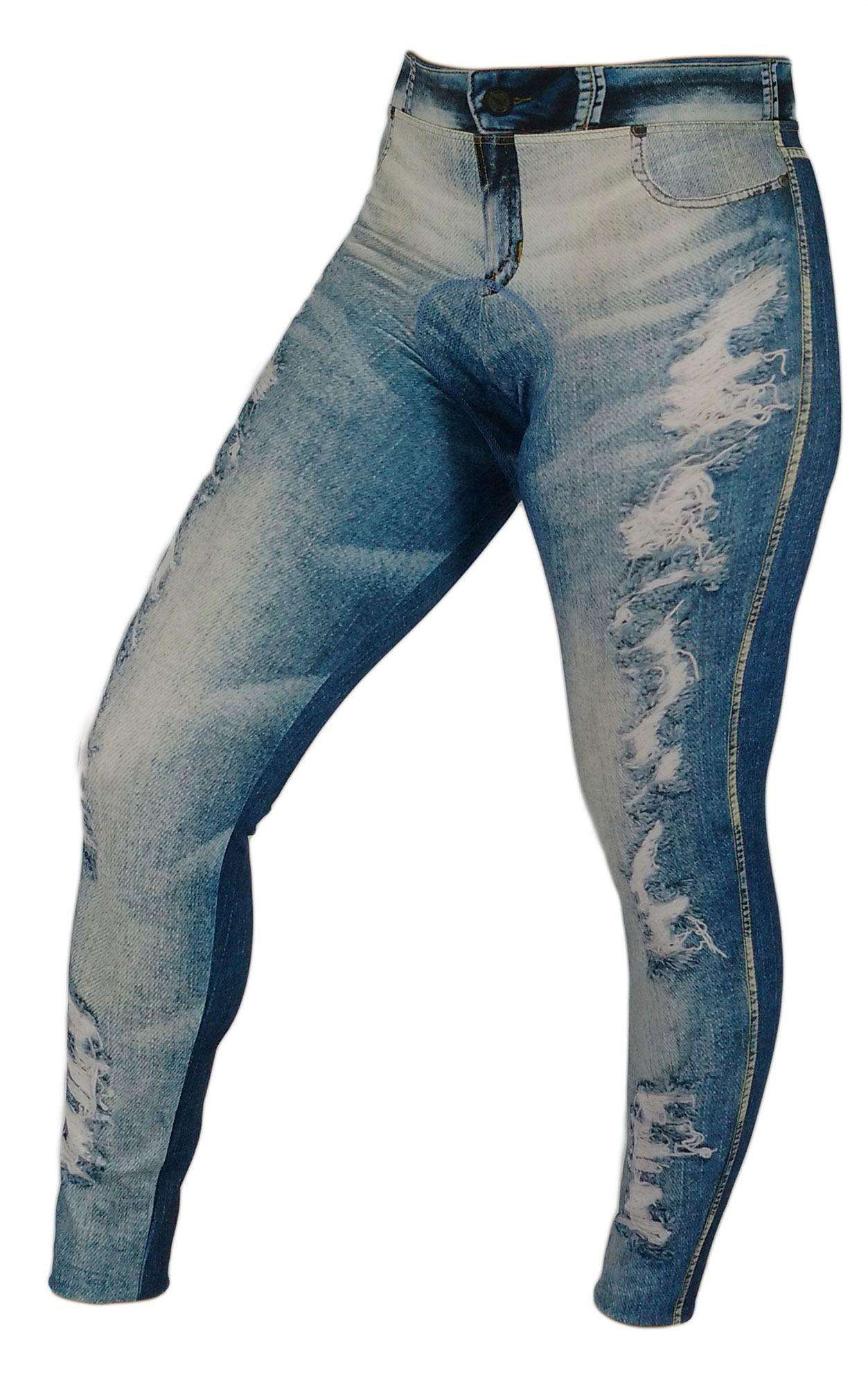 CALCA VILLA SPORTS FEMININA CYCLING JEANS RIPPED AZUL