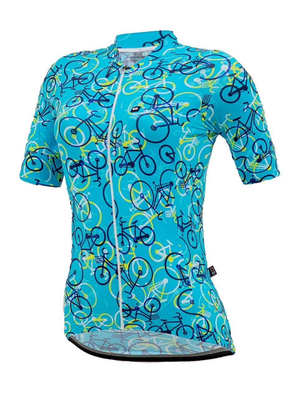 CAMISA MARCIO MAY FEMININA FUNNY COLORFUL BIKES LIGHT BLUE AZUL CICLISMO