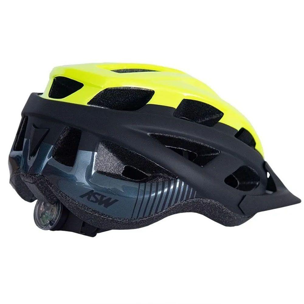 CAPACETE ASW BIKE FUN AMARELO FLUOR E PRETO COM LED TRASEIRO 20 - Bike  Runners - Loja de Bicicleta e Acessórios 🚴