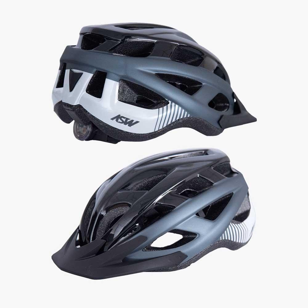 CAPACETE ASW BIKE FUN CINZA E PRETO COM LED TRASEIRO 20 - Bike Runners -  Loja de Bicicleta e Acessórios 🚴