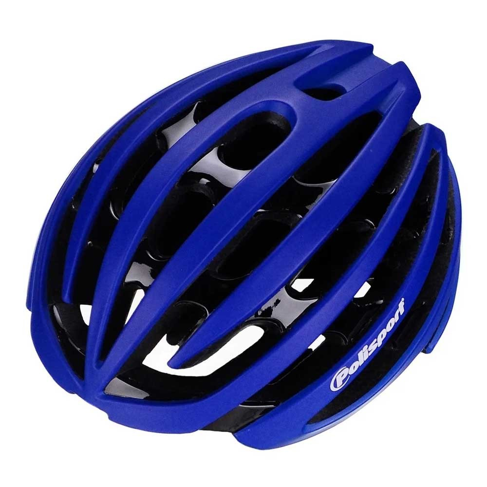 CAPACETE POLISPORT LIGHT ROAD PRETO E AZUL IN-MOLD SPEED E MTB