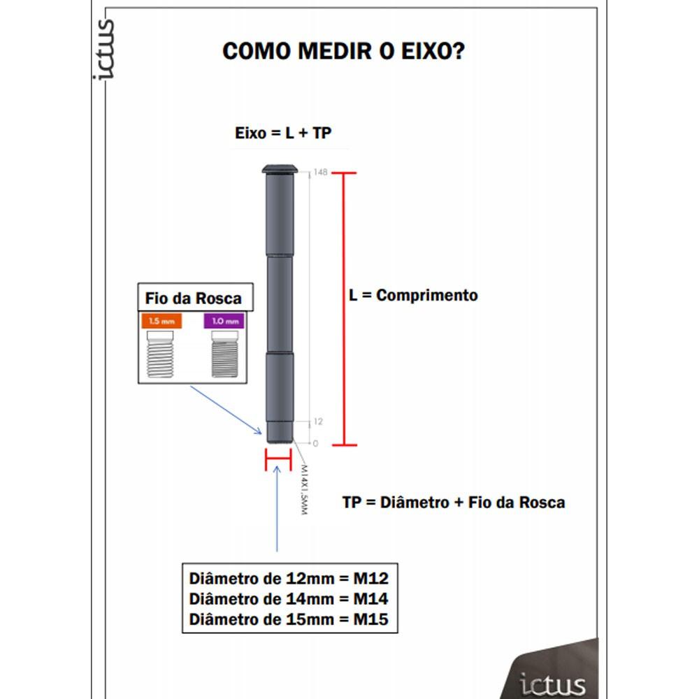 EIXO PASSANTE ICTUS 12MM 142MM TRASEIRO C/ ARRUELA E PORCA (L:175MM TP: M12x1,50MM)