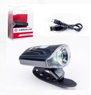 FAROL DIANTEIRO ABSOLUTE JY-7043 PRETO 1 LED 50 LUMENS 3 MODOS ATE 15 HORAS USB - ISP