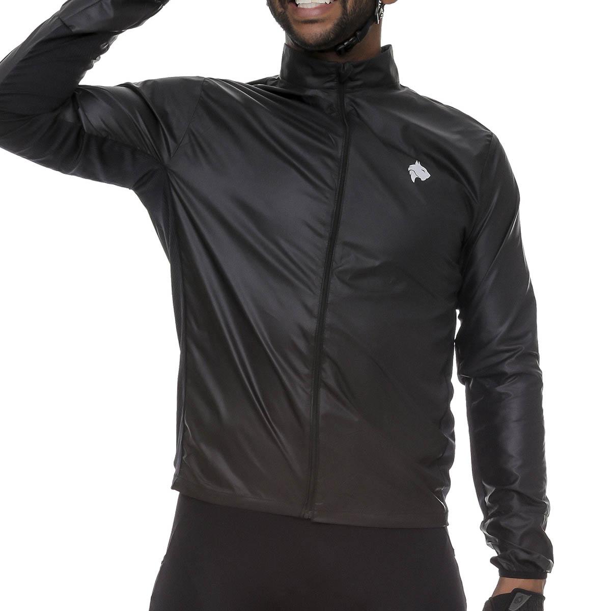 Jaqueta Corta Vento Lynce Masculina Black Titanium com Ziper Refletivo Preto Ciclismo
