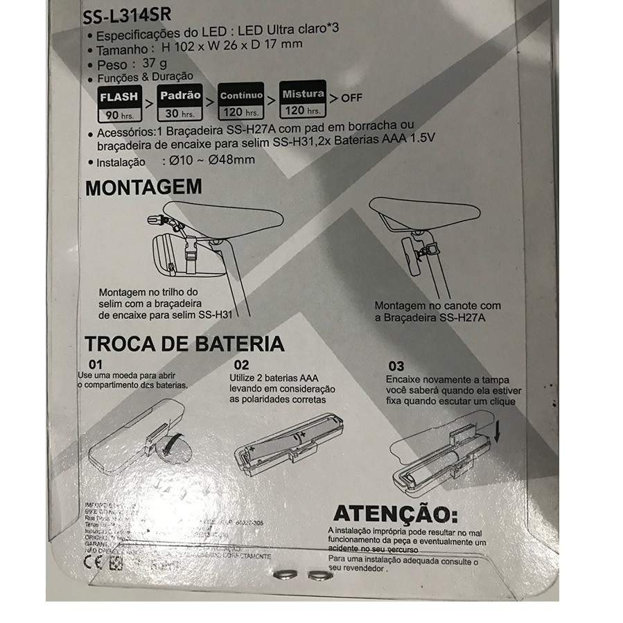LANTERNA TRASEIRA AUDAX ADX SS SLASH LED ULTRA CLARO