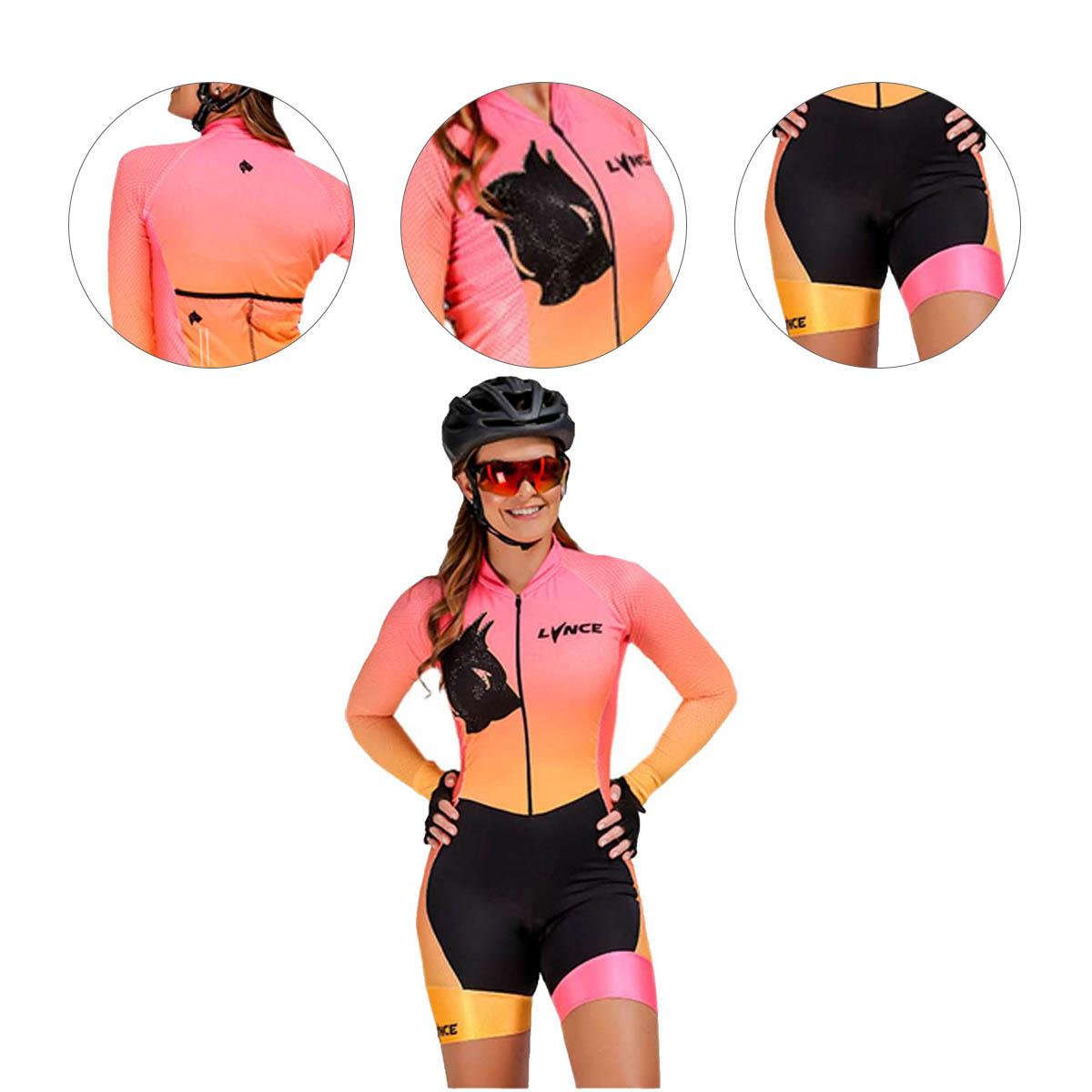 Macaquinho Lynce Feminino Manga Longa Pink Jaguar Gradiente com Pedras Ciclismo
