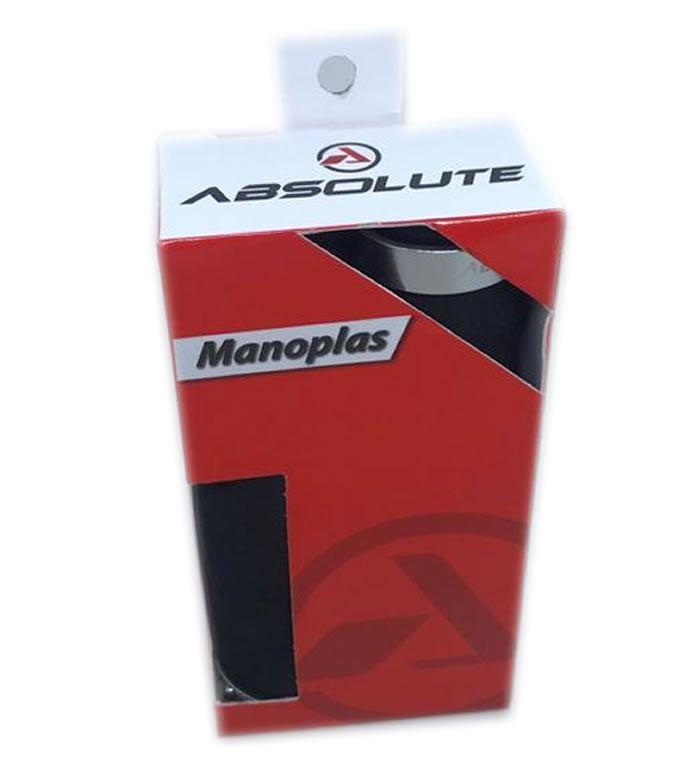MANOPLA ABSOLUTE F444 ESPUMA PRETA COM TRAVA PRATA 128MM