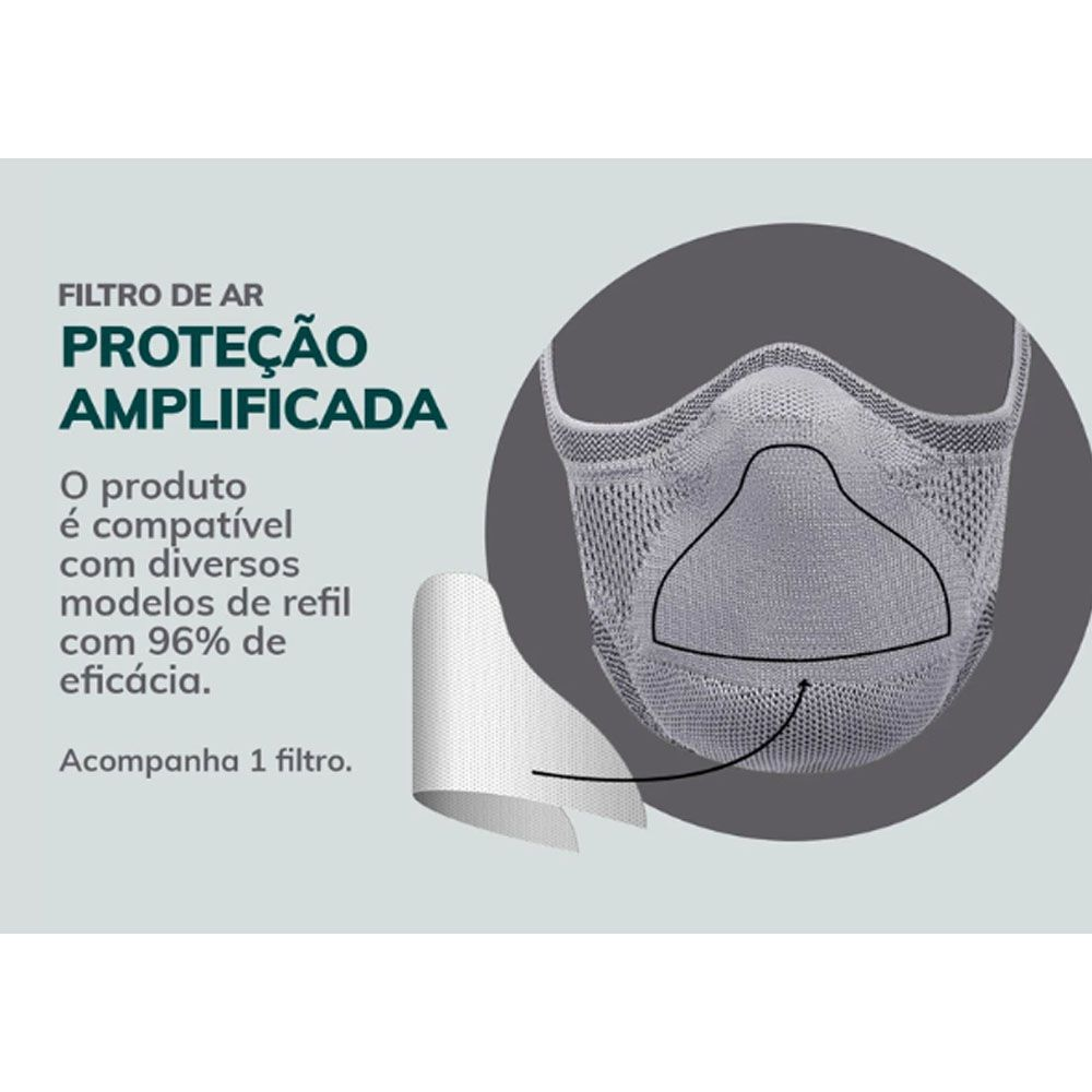 MASCARA DE PROTECAO FIBER KNIT PRETA TECNOLOGIA 3D LAVAVEL COM FILTRO