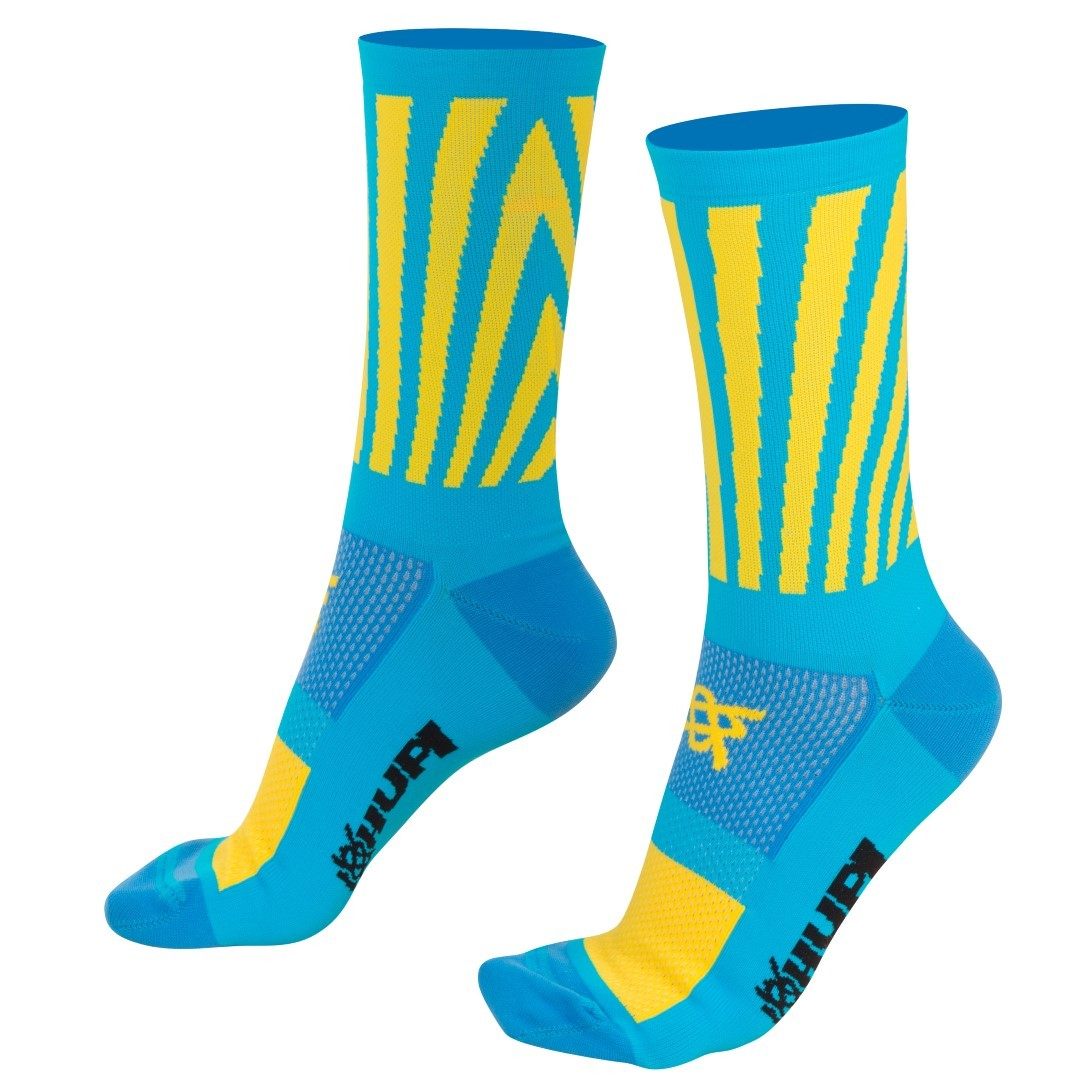 MEIA HUPI CICLISTA COLORFUL COLLECTION AZUL AMARELO SOLAR 495-27
