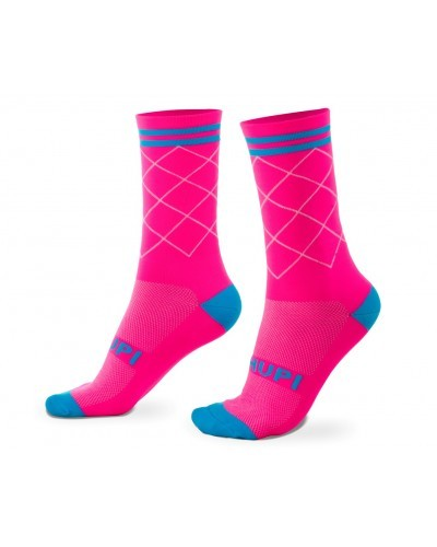 MEIA HUPI CICLISTA COLORFUL COLLECTION ROSA NEON 495-7
