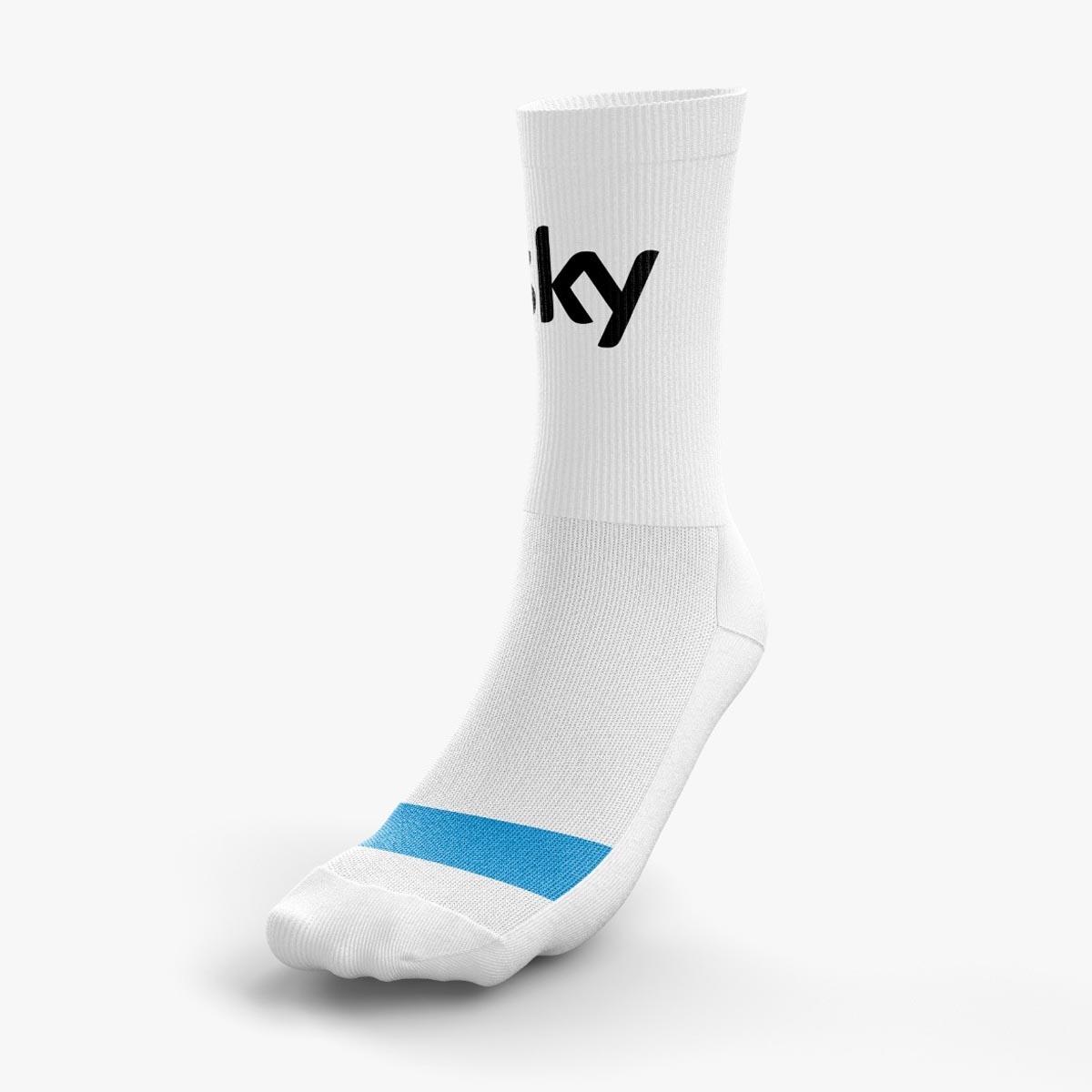 Meia Pith Sky 2 com Logo Masculina Branca e Azul 38 a 44 Ciclismo