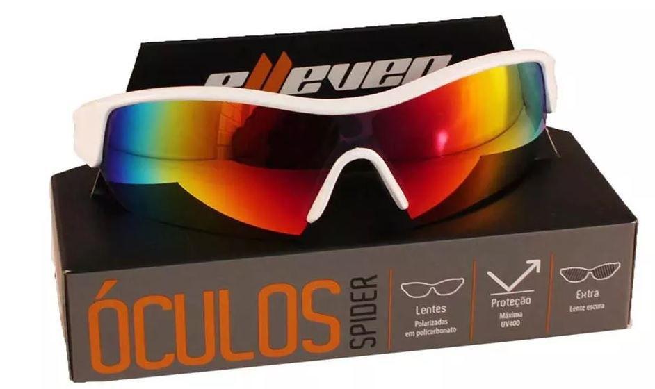 ... OCULOS PARA CICLISMO ELLEVEN SPIDER BRANCO LENTE ESPELHADA UV400 LENTE  EXTRA ESCURA - Bike Runners ... 9e6d18ba7d