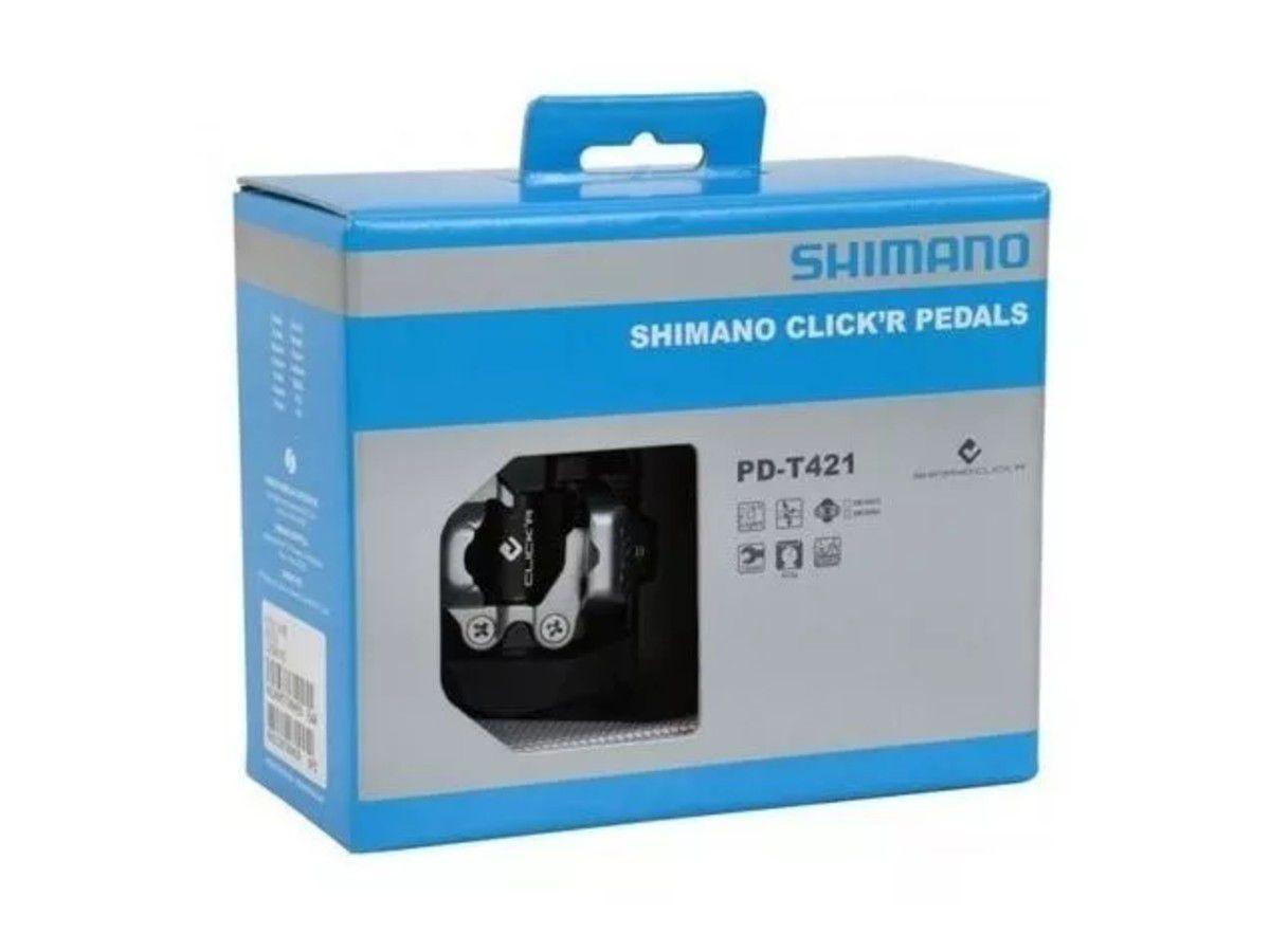 PEDAL CLIP ALUMINIO SHIMANO T421 PRETO C/REFLETOR E TAQUINHO - BLC