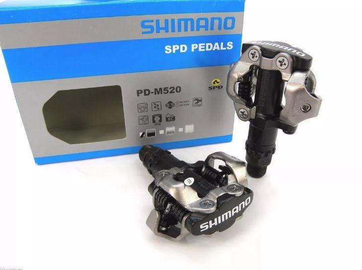 PEDAL CLIP MTB SHIMANO SPD PD-M520 PRETO SEM REFLETIVO COM TAQUINHO - ISP