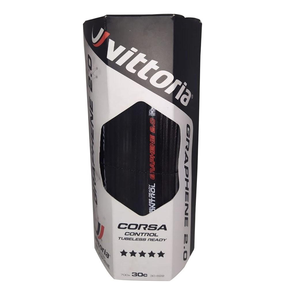 PNEU 700X30 VITTORIA CORSA CONTROL TLR GRAFENO G2.0 PRETO/PRETO 320 TPI DOBRAVEL KEVLAR TUBELESS READY 11A00111