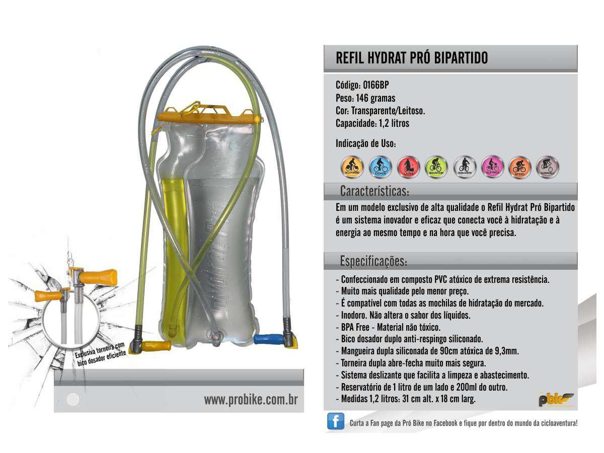 REFIL PROBIKE HYDRAT PRO BIPARTIDO 1,2L ECO PARA TODOS MODELOS DE MOCHILA - 166BP