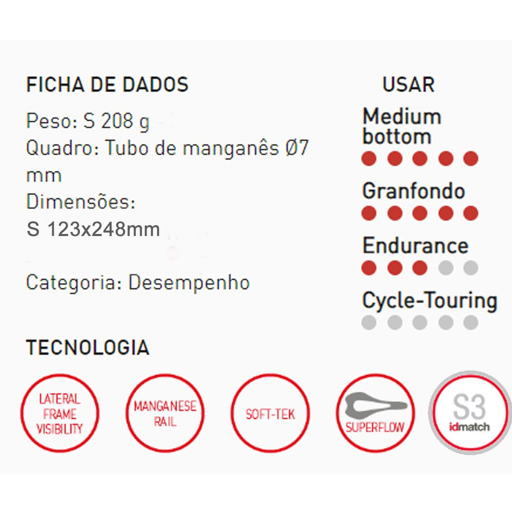 SELIM SELLE ITALIA SLR BOOST SUPERFLOW TRILHO MANGANES S3 200G 248X123MM (041A620MHC001)