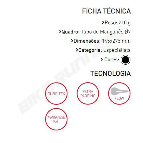 SELIM SELLE ITALIA SLR TM FLOW L2 TRILHO MANGANES PRETO 210G.