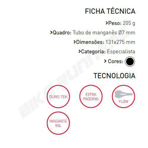 SELIM SELLE ITALIA SLR TM FLOW S2 TRILHO MANGANES PRETO 205G.