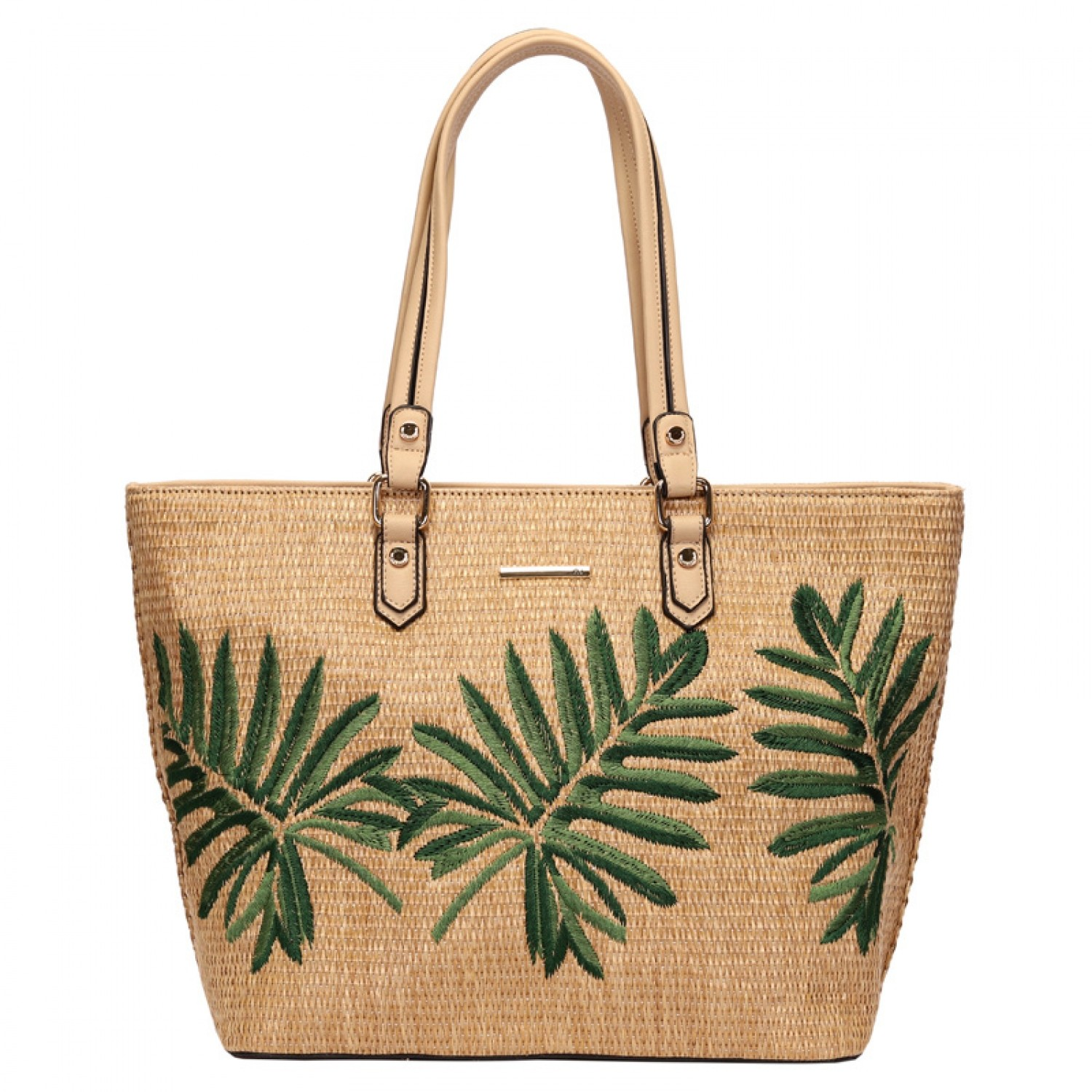 BOLSA SHOPPING BAG BORDADA PALHA