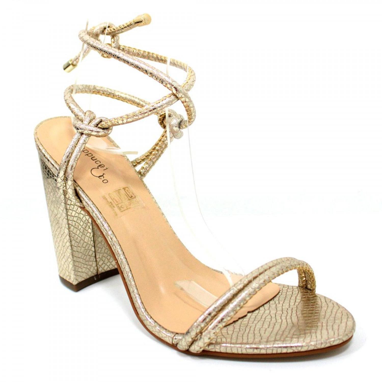 Sandália Dourada Escamas