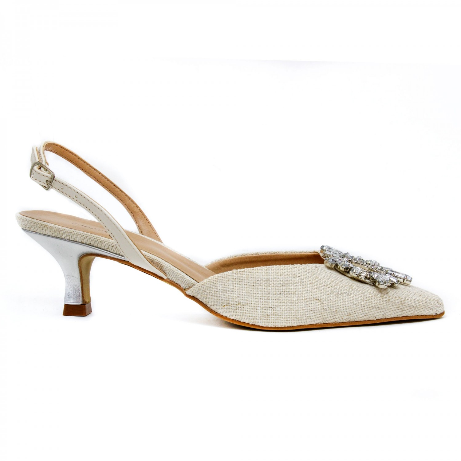 SCARPIN CHANEL COM BROCHE DE PEDRAS OFF WHITE