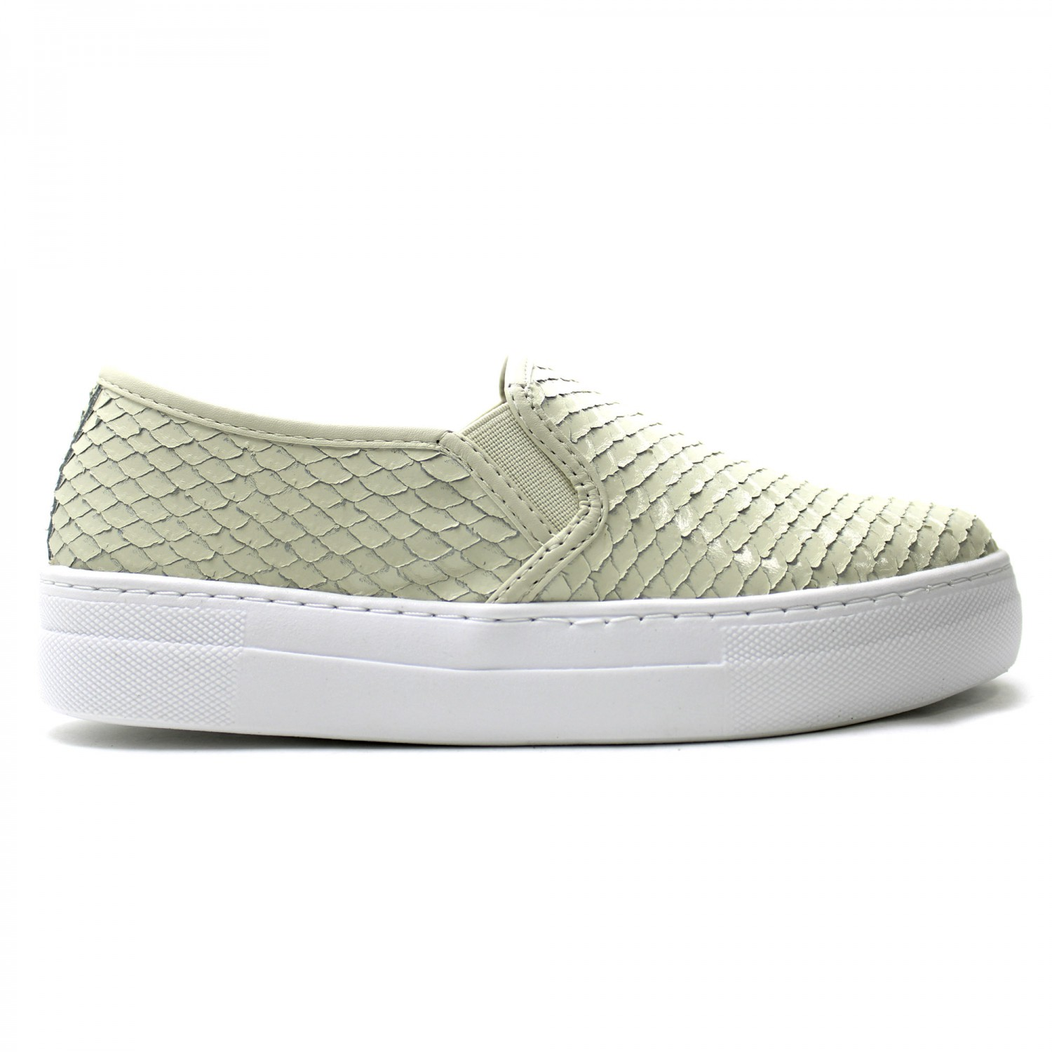 TÊNIS COURO SLIP ON ESCAMADO OFF WHITE