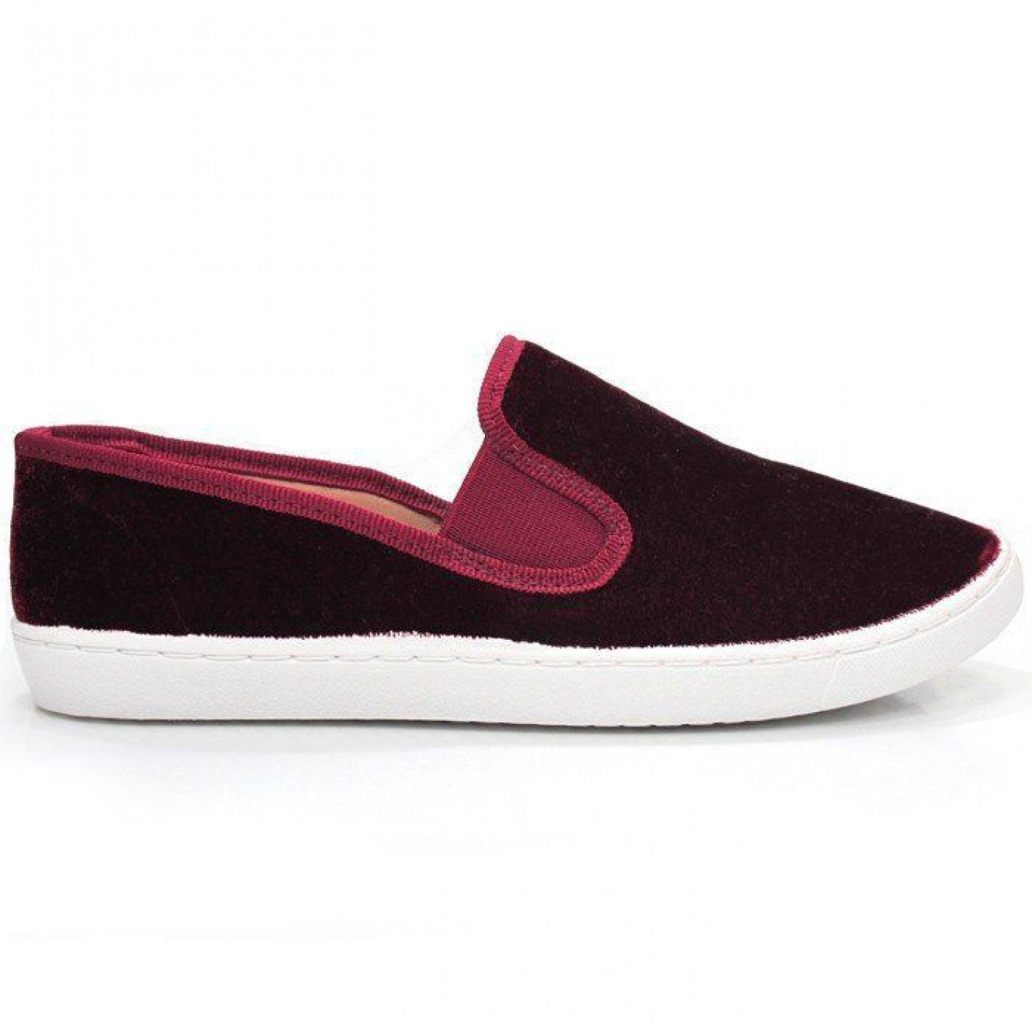 TÊNIS SLIP ON VELUDO BORDÔ
