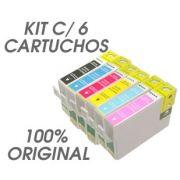 Kit c/ 6 Cartuchos Epson R270 Original - M/ Y/ C/ B/ CL/ ML ´Sem Caixa´