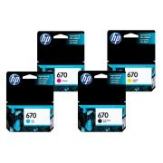 KIT 4 CARTUCHOS HP 670 ORIGINAL CMYK  | 4615 | 4625 | 5525