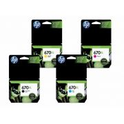 KIT 4 CARTUCHOS HP 670XL ORIGINAL | CZ 117AB | CZ 118AB | CZ 119AB | CZ 120AB