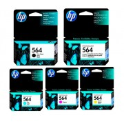 Kit 5 Cartuchos HP 564 Original CMYK | C6380 | D5460 | B8850 | Plus | Fax