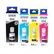 Kit Refil de Tinta Epson  T504 CMYK | L4150 L4160 L6191 L6161 L6171