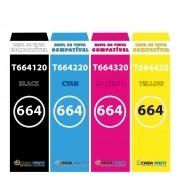 KIT REFIL TINTA CORANTE EPSON UNIVERSAL T664120 - T664220 - T664320 - T664420