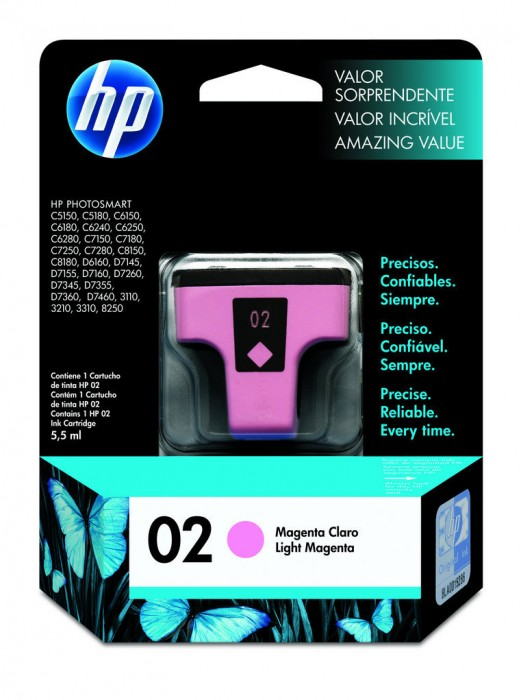Cartucho HP 02 Original C8775WL Light Magenta |  D7145 | C5180 | C6240