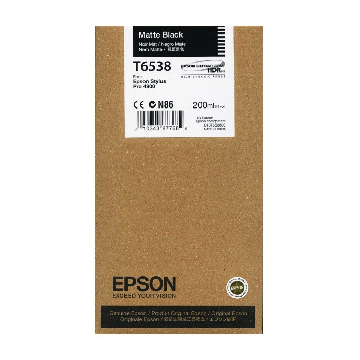 Cartucho Epson Original T653800 UltraChrome HDR Matte Black - Pro 4900