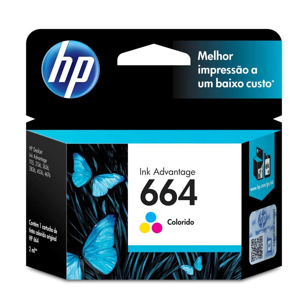 Cartucho HP 664 Original F6V28AB Color | 3636 | 3776 | 3836 | 4536