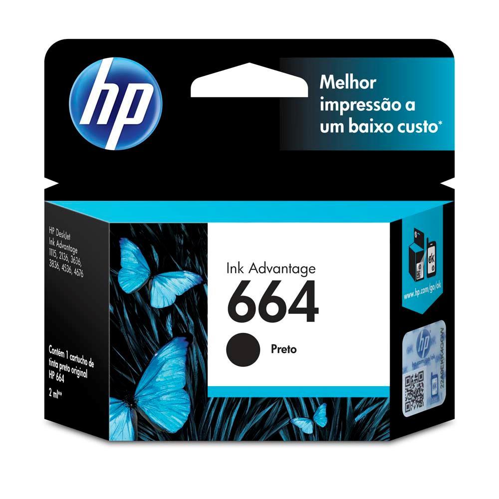 Cartucho HP 664 Original F6V29AB Black | 3636 | 3776 | 3836 | 4536