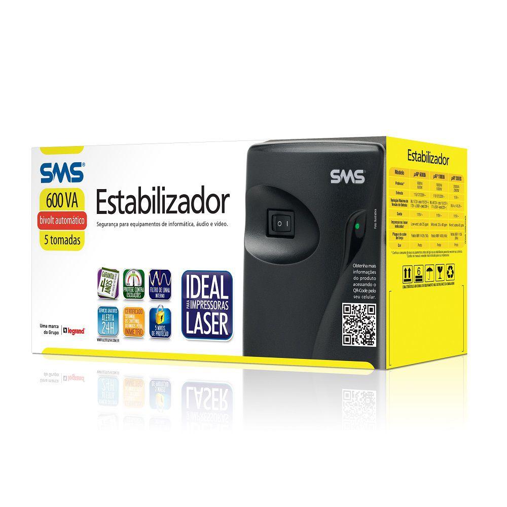 ESTABILIZADOR SMS PROGRESSIVE III 600A BIVOLT UAP600BI 115 5NT UAP600BI