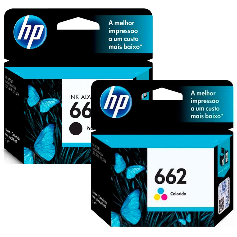 Kit 2 Cartuchos HP 662 Original | Black e Color CZ103AB  CZ104AB 3516 | 4646 | 2646