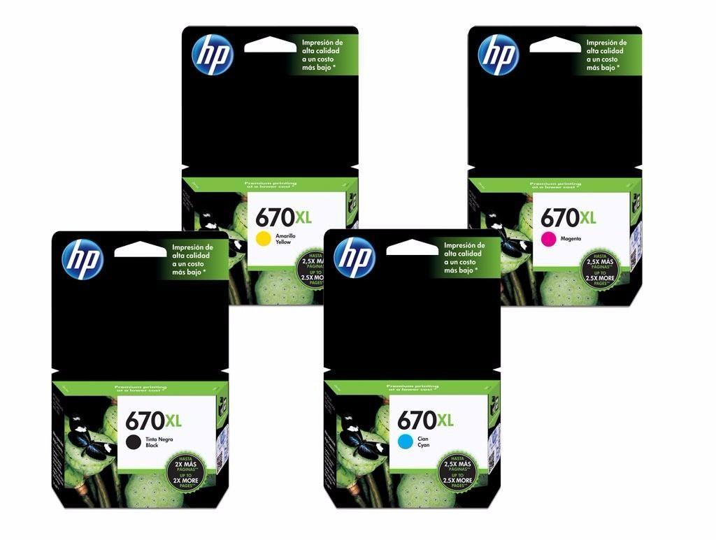 KIT 4 CARTUCHOS HP 670XL ORIGINAL | CZ 117AB | CZ 118AB | CZ 119AB | CZ 120AB