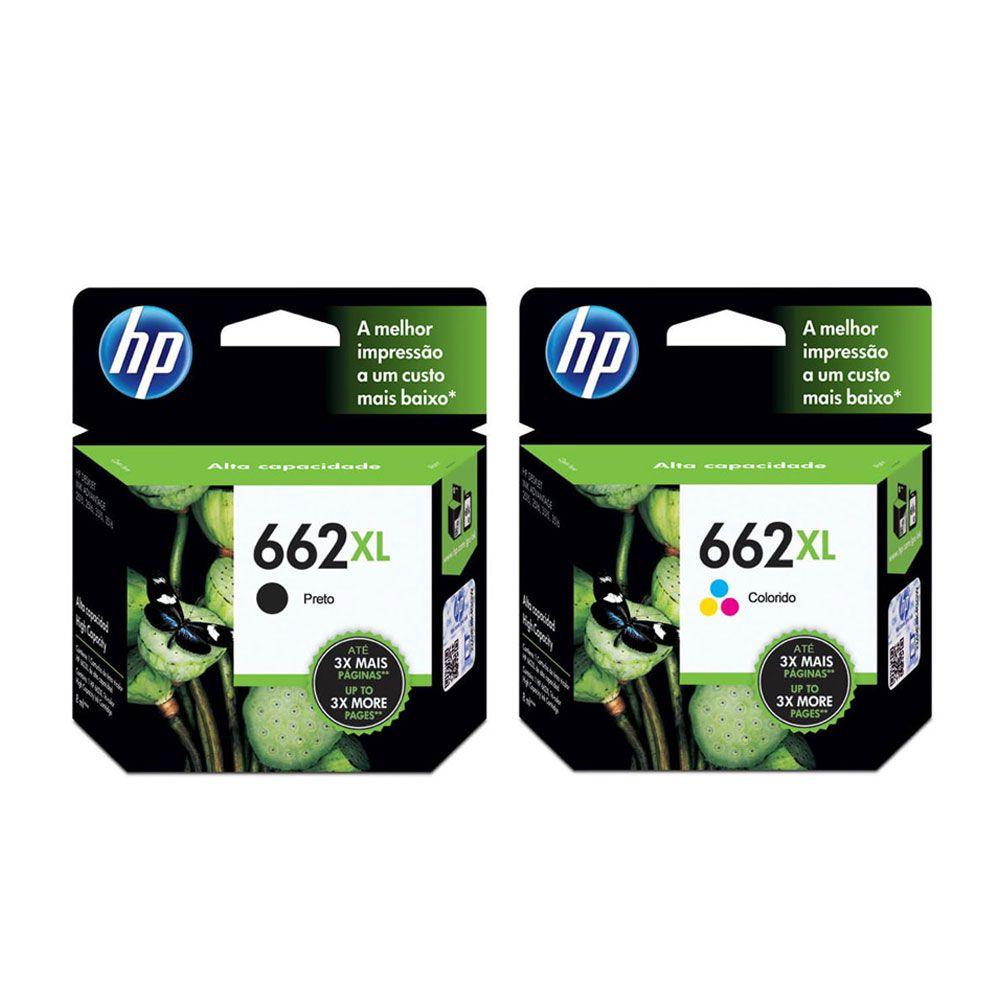 KIT CARTUCHO HP 662XL ORIGINAL CZ105AB BLACK   CZ106AB COLOR 3516   4646   2646