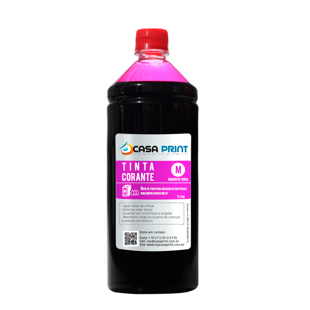 Refil Tinta para HP Universal Magenta 1 litro Corante