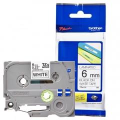 Fita p/ Rotulador TZ211 6mm Preto sobre Branco Brother