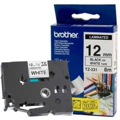 Fita p/ Rotulador TZ231 12mm Preto sobre Branco Brother