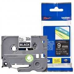 Fita p/ Rotulador TZ325 9mm Branco sobre Preto Brother
