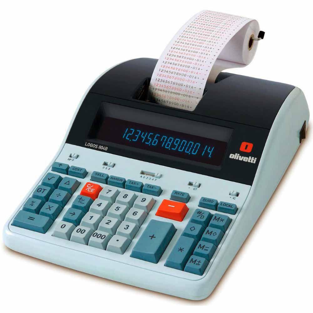 Calculadora de Mesa LOGOS 804B de 14 Dígitos, Bobina, Visor LCD BackLit, Impressão 2 Cores, Bivolt Olivetti