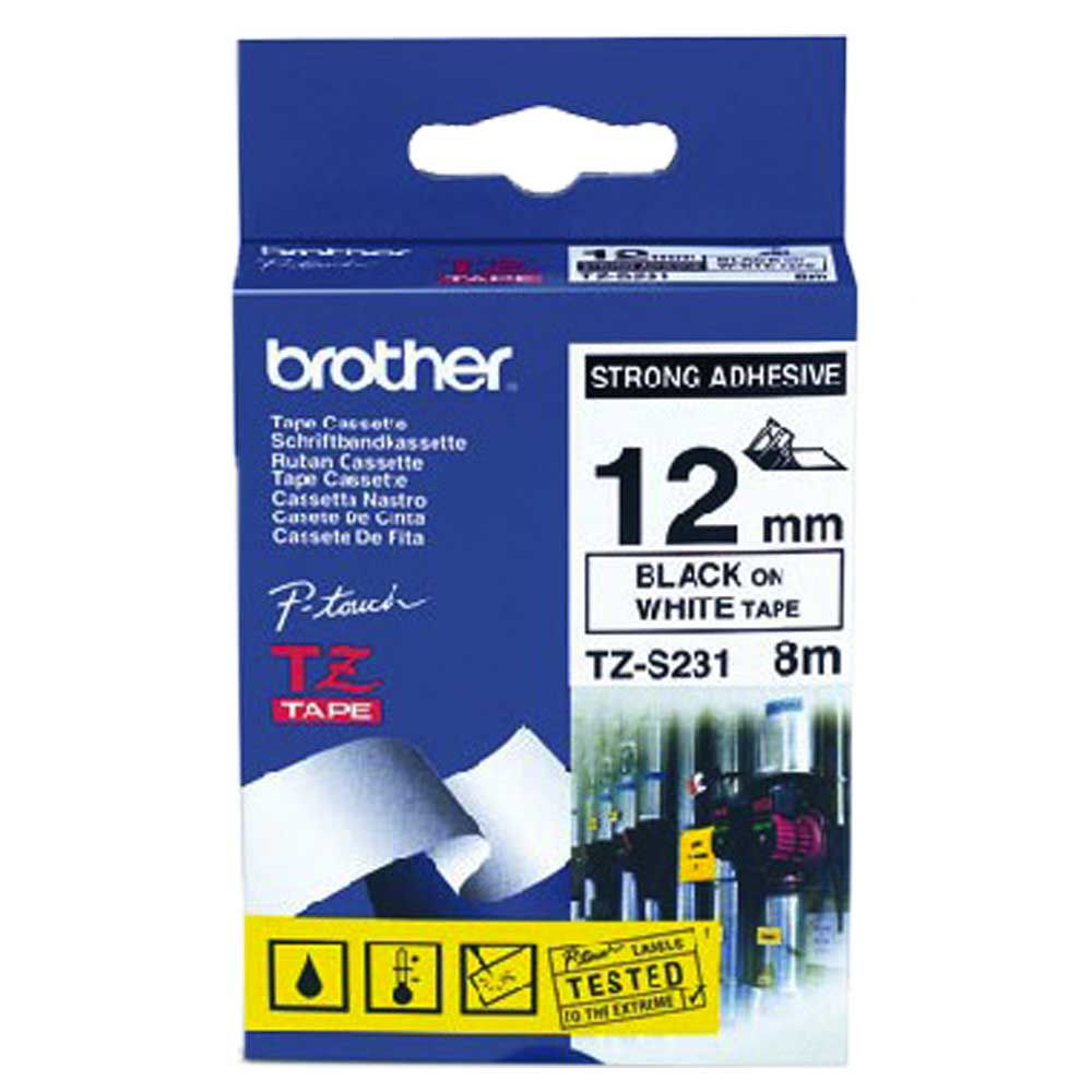 Fita Industrial p/ Rotulador TZS231 12mm Preto sobre Branco Brother
